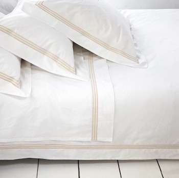 Queen sheet set white & almond Elba