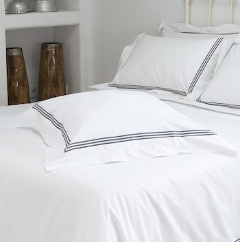 Tailored Euro pillowcase white & mink Elba