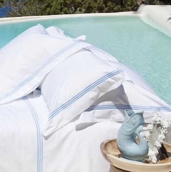 Tailored king pillowcase white & sky Elba