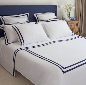 Queen sheet set white & navy Formentera