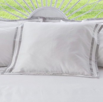 Tailored Euro pillowcase white & ash Formentera