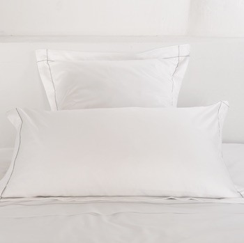 Tailored king pillowcase white & stone Tremiti