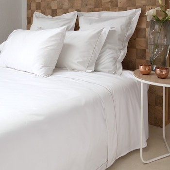 Tailored king pillowcase white & caramel Tremiti