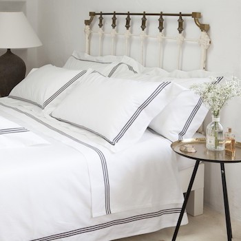 Super king sheet set white & mink Elba