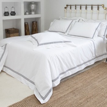 Double sheet set white & mink Elba