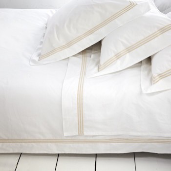 Double sheet set white & almond Elba
