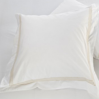 Tailored European pillowcase white & almond Elba