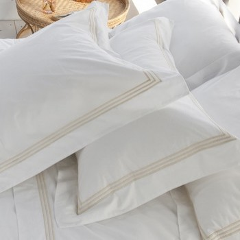 Tailored king pillowcase white & almond Elba