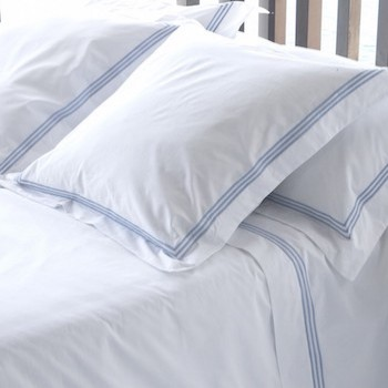 Tailored Euro pillowcase white & sky Elba