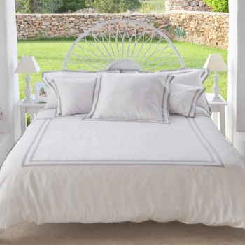 Queen quilt cover white & ash Formentera
