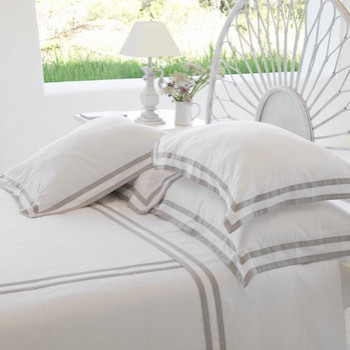 Super king sheet set white & ash Formentera