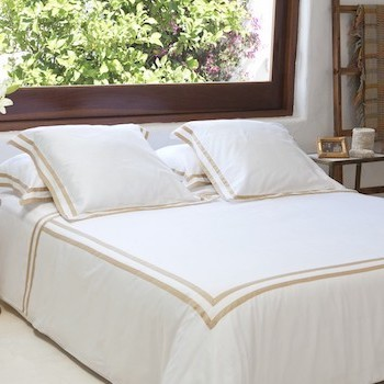 Queen sheet set white & honey Formentera