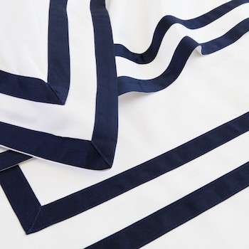 King flat sheet white & navy Formentera