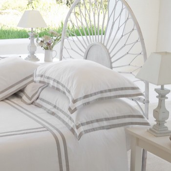 Tailored king pillowcase white & ash Formentera