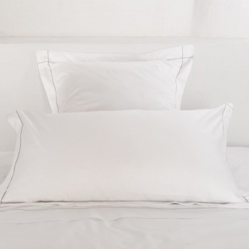 Tailored standard pillowcase white & stone Tremiti
