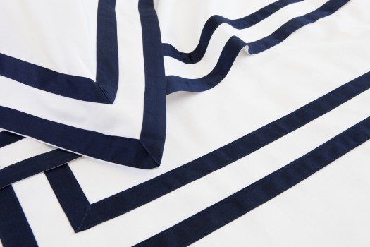 Double flat sheet white & navy Formentera